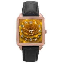 Yellow Flower Rose Gold Leather Watch