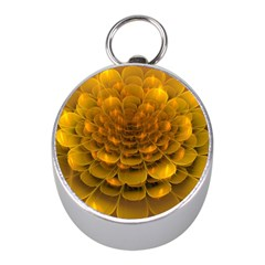 Yellow Flower Mini Silver Compasses