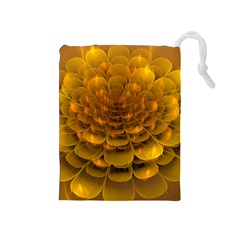 Yellow Flower Drawstring Pouches (Medium)