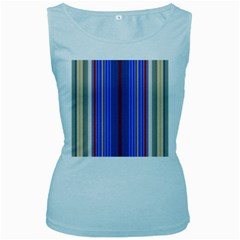 Colorful Stripes Women s Baby Blue Tank Top