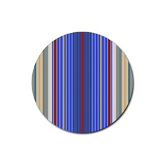 Colorful Stripes Rubber Coaster (Round)