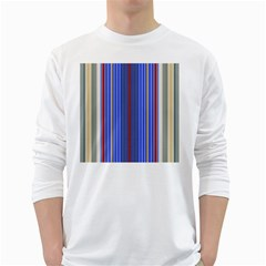 Colorful Stripes White Long Sleeve T Shirts