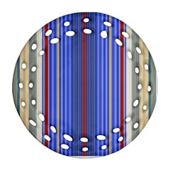 Colorful Stripes Round Filigree Ornament (two Sides)
