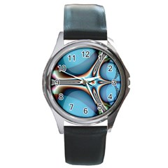 Fractal Beauty Round Metal Watch