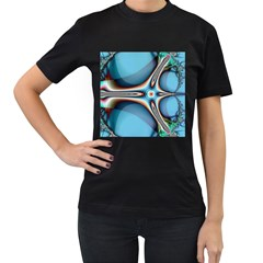 Fractal Beauty Women s T-Shirt (Black) (Two Sided)