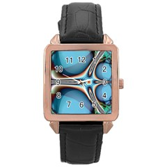 Fractal Beauty Rose Gold Leather Watch