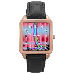 Fractal Tree Rose Gold Leather Watch