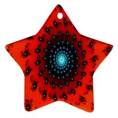 Red Fractal Spiral Ornament (Star)