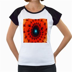 Red Fractal Spiral Women s Cap Sleeve T