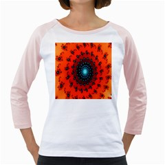 Red Fractal Spiral Girly Raglans