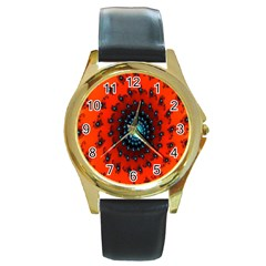 Red Fractal Spiral Round Gold Metal Watch