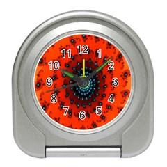 Red Fractal Spiral Travel Alarm Clocks
