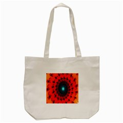 Red Fractal Spiral Tote Bag (cream)