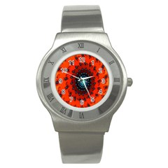 Red Fractal Spiral Stainless Steel Watch