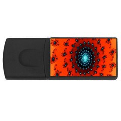 Red Fractal Spiral Usb Flash Drive Rectangular (4 Gb)