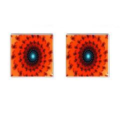 Red Fractal Spiral Cufflinks (square)