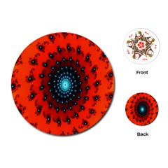 Red Fractal Spiral Playing Cards (round)