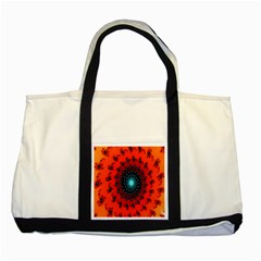 Red Fractal Spiral Two Tone Tote Bag