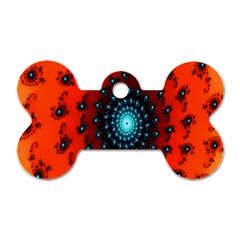 Red Fractal Spiral Dog Tag Bone (One Side)