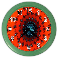 Red Fractal Spiral Color Wall Clocks