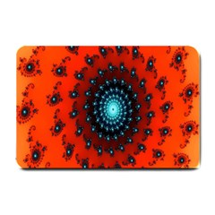 Red Fractal Spiral Small Doormat