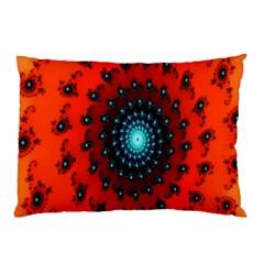 Red Fractal Spiral Pillow Case