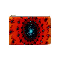 Red Fractal Spiral Cosmetic Bag (medium)