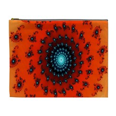Red Fractal Spiral Cosmetic Bag (xl)