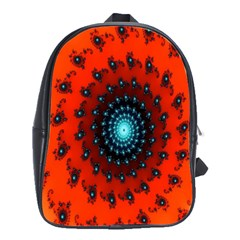 Red Fractal Spiral School Bags(Large)