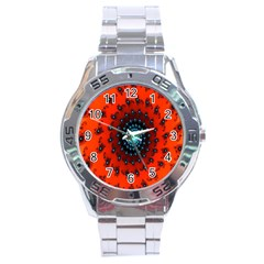 Red Fractal Spiral Stainless Steel Analogue Watch