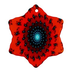 Red Fractal Spiral Snowflake Ornament (Two Sides)