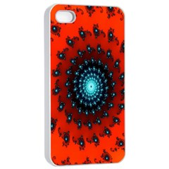 Red Fractal Spiral Apple iPhone 4/4s Seamless Case (White)