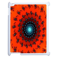 Red Fractal Spiral Apple iPad 2 Case (White)