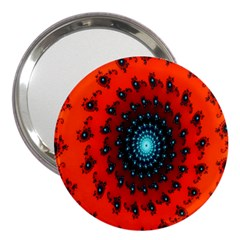 Red Fractal Spiral 3  Handbag Mirrors