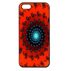 Red Fractal Spiral Apple iPhone 5 Seamless Case (Black)