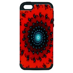 Red Fractal Spiral Apple Iphone 5 Hardshell Case (pc+silicone)
