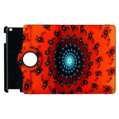 Red Fractal Spiral Apple iPad 3/4 Flip 360 Case