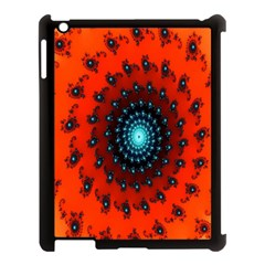 Red Fractal Spiral Apple iPad 3/4 Case (Black)