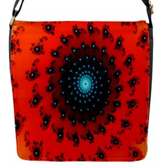 Red Fractal Spiral Flap Messenger Bag (S)
