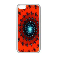 Red Fractal Spiral Apple iPhone 5C Seamless Case (White)