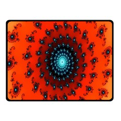 Red Fractal Spiral Double Sided Fleece Blanket (Small)