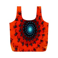 Red Fractal Spiral Full Print Recycle Bags (M)