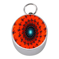 Red Fractal Spiral Mini Silver Compasses