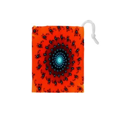 Red Fractal Spiral Drawstring Pouches (small)