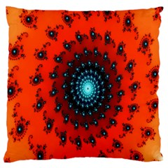 Red Fractal Spiral Large Flano Cushion Case (One Side)