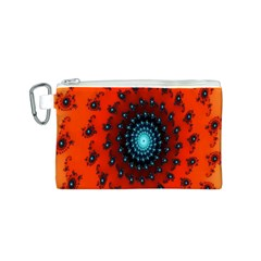 Red Fractal Spiral Canvas Cosmetic Bag (S)