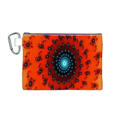 Red Fractal Spiral Canvas Cosmetic Bag (M)