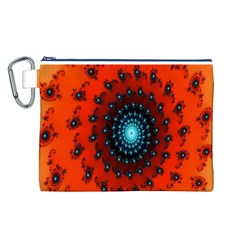 Red Fractal Spiral Canvas Cosmetic Bag (L)