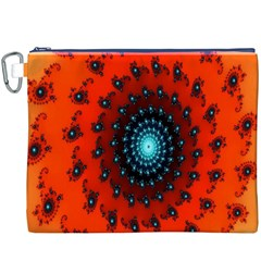 Red Fractal Spiral Canvas Cosmetic Bag (XXXL)