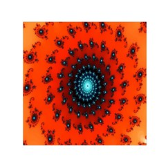 Red Fractal Spiral Small Satin Scarf (Square)